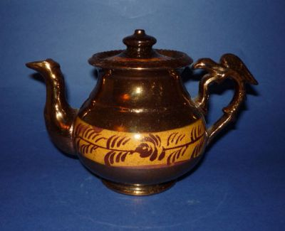Scottish Caledonian Pottery (Glasgow) Copper Lustre Teapot c1860